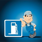 """""""Vector Illustration of a Gas Station Attendant Cartoon Man, who is leaning against a gas station road sign. The background is on a separate layer, so you can use the illustration on your own background. The colors in the .eps-file are ready for print (CMYK). Included files: EPS (v8) and Hi-Res JPG."""""""