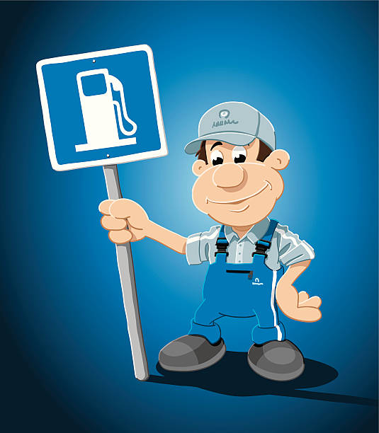 "Gas Station Attendant Sign Cartoon Man ""Vector Illustration of a gas station attendant, who is holding a gas station sign. The background is on a separate layer, so you can use the illustration on your own background. The colors in the .eps-file are ready for print (CMYK). Included files: EPS (v8) and Hi-Res JPG."" cartoon people sign stock illustrations"