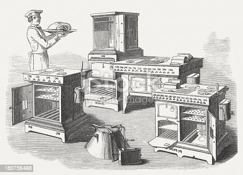 istock Gas stoves, wood engraving, published in 1854 180756466