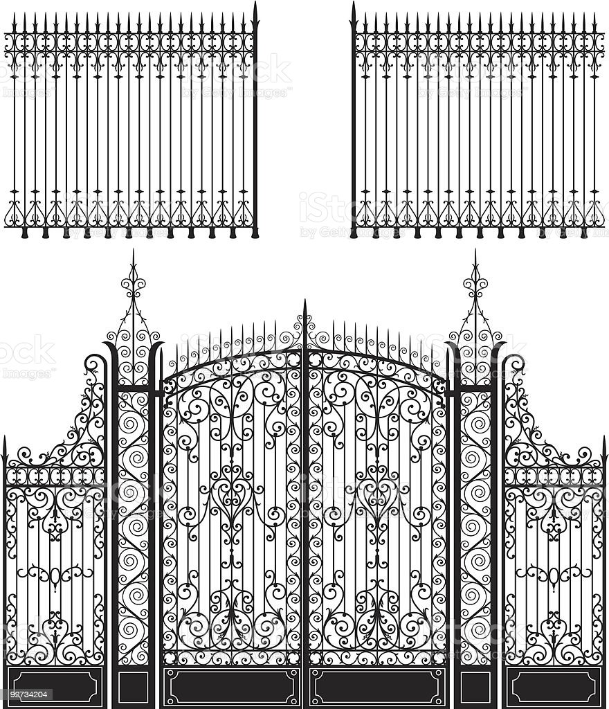 Gate and Fence vector art illustration