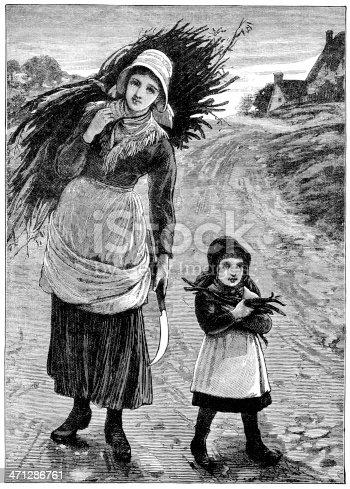 Gathering winter fuel - Victorian illustration