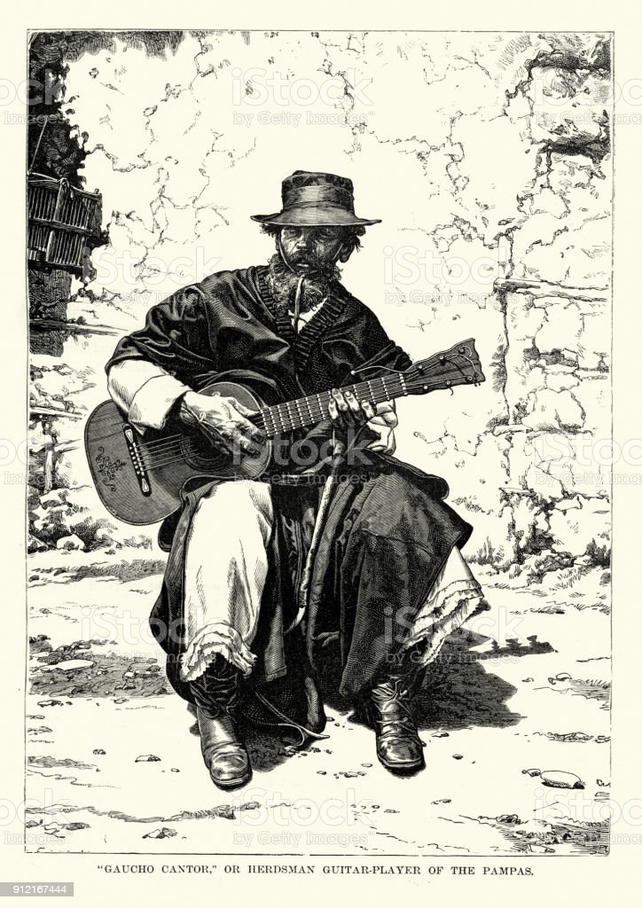 Gaucho Cantor, Herdsman guitar player of the Pampas vector art illustration