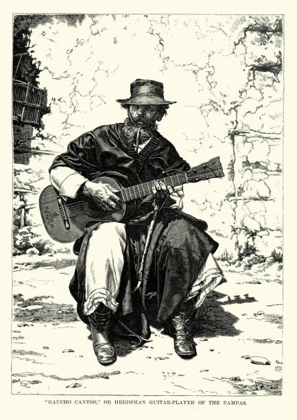 bildbanksillustrationer, clip art samt tecknat material och ikoner med gaucho cantor, herde gitarrspelare av pampas - latino music