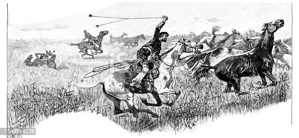Steel engraving of Gaucho capturing horses in the La Pampa Province of Argentina Original edition from my own archives Drawing Albert Richter Source :