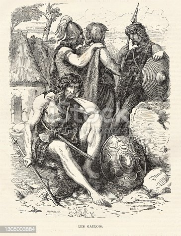 Gauls were Celtic people who lived in Europe during the Iron Age to Roman Age (5 BC to 5 AD). Illustration published in Cent Recits: D'Histoire De France by Gustave DuCourdray (Librairie Hachette, Paris) in 1887.