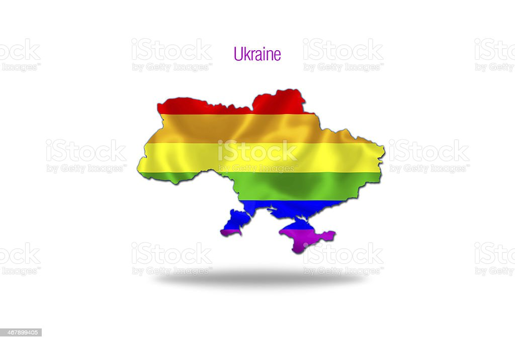 Gay flag in ukrainian map. royalty-free stock vector art
