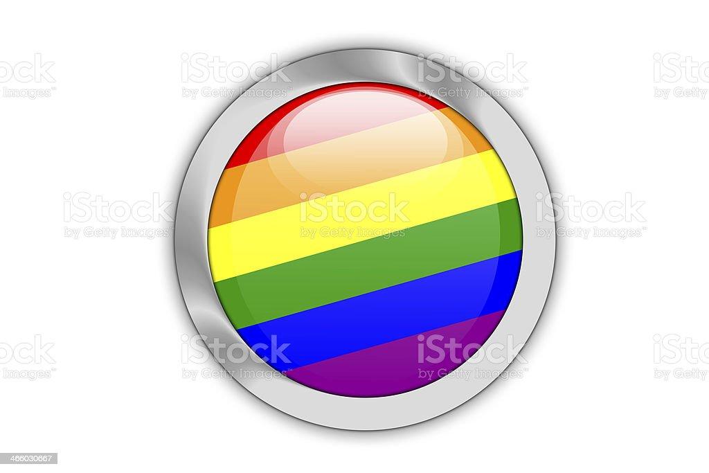 Gay flag push button. royalty-free stock vector art