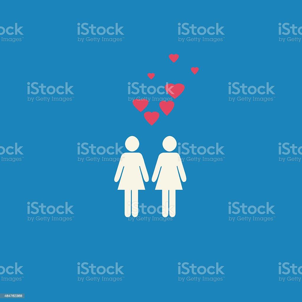 Gay lesbian cœurs graphic - Illustration vectorielle