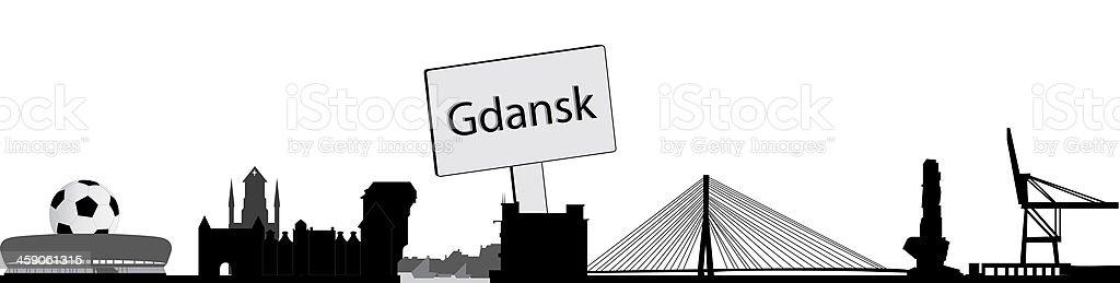 Gdansk skyline vector art illustration