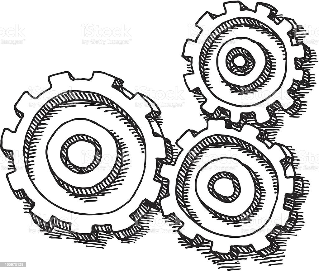 Gears Drawing royalty-free stock vector art