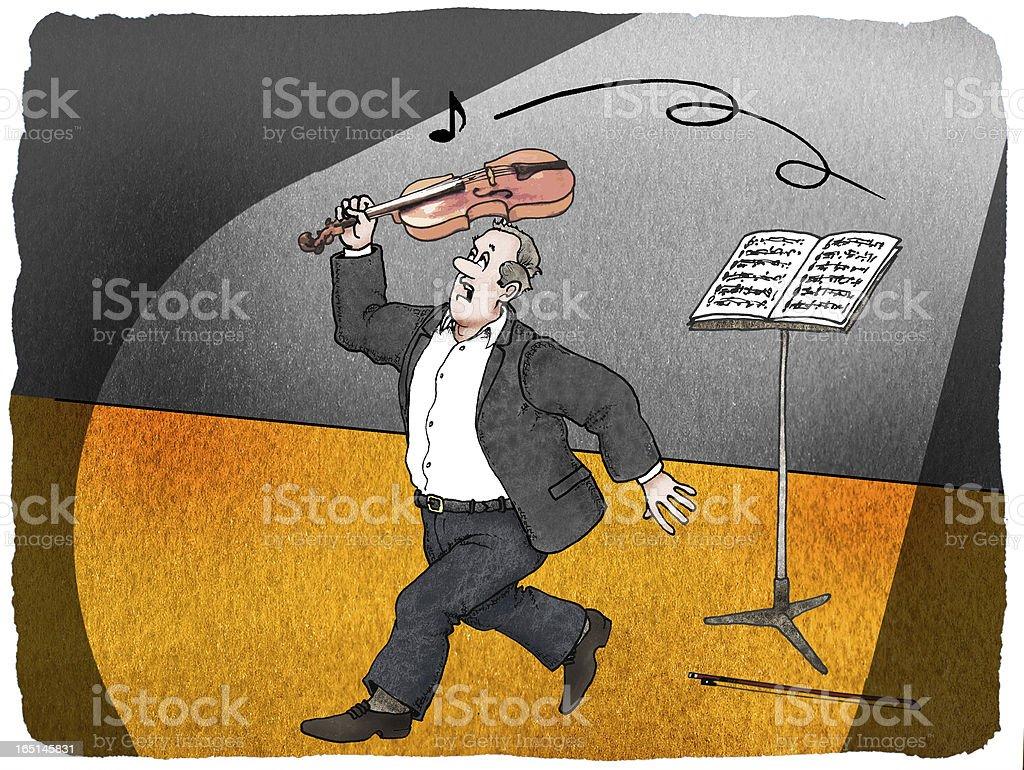 Geiger schlägt mit der Violine nach einer Note. vector art illustration