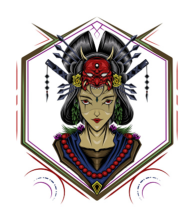 Geisha symbol. Japanese mascot design