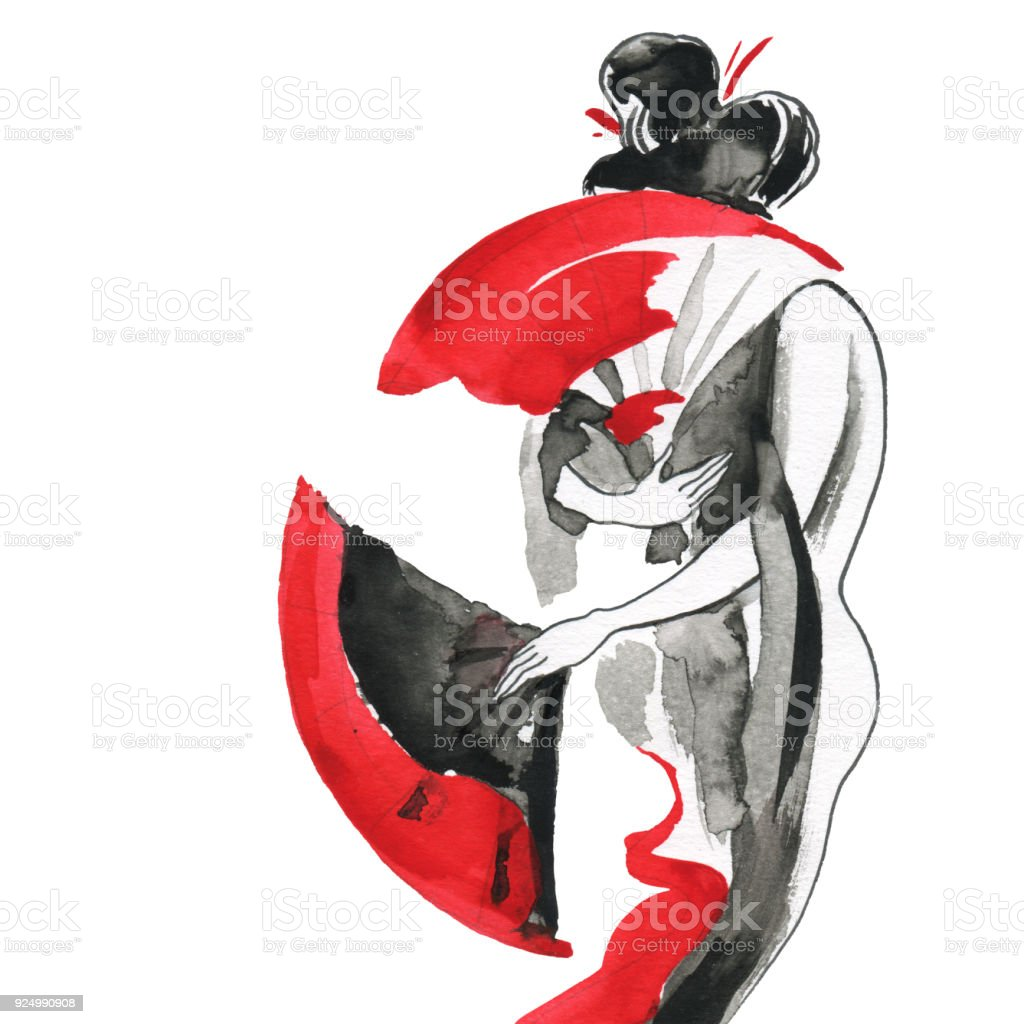 Geisha. Woman in traditional clothing. Japanese style vector art illustration