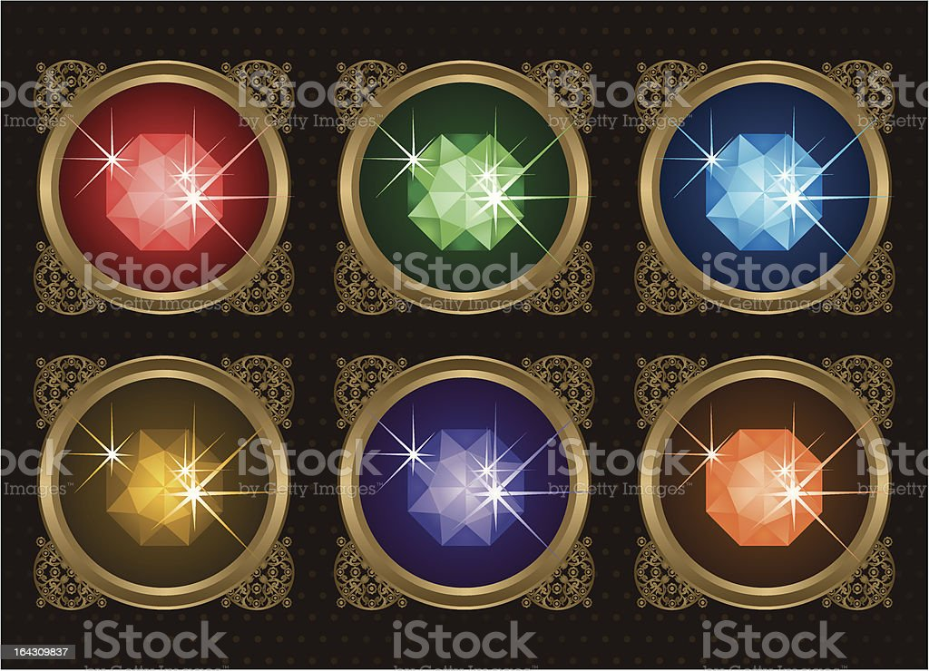 Gems Set vector art illustration