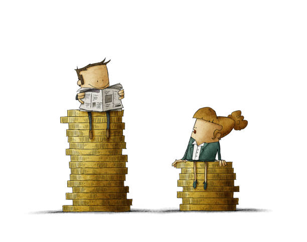 Gender wage difference concept. Illustration man and a woman sitting on top of a pile of coins. Isolated vector art illustration
