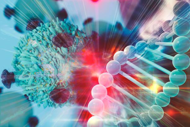 ilustraciones, imágenes clip art, dibujos animados e iconos de stock de terapia génica para el cáncer tratamiento concepto - oncología