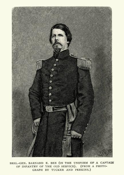 General Barnard Elliott Bee Jr. vector art illustration