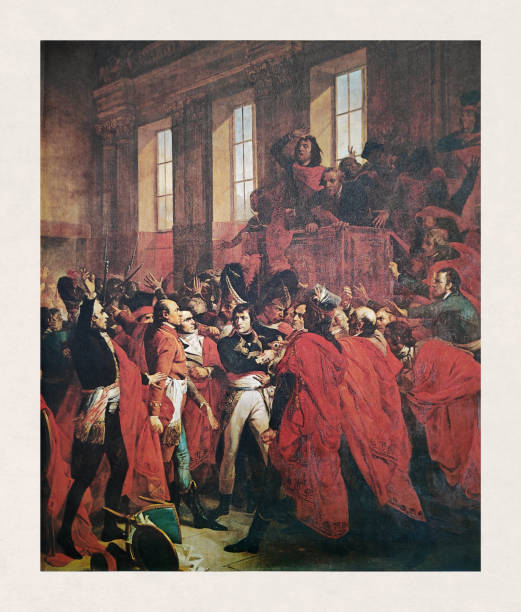 General Bonaparte at the Council of the Five Hundred in Saint-Cloud vector art illustration