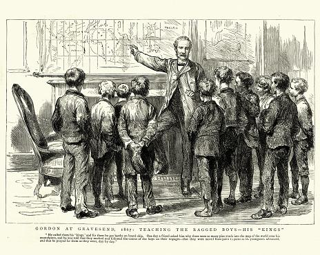 General Charles George Gordon teaching ragged boys at Gravesend, 1867