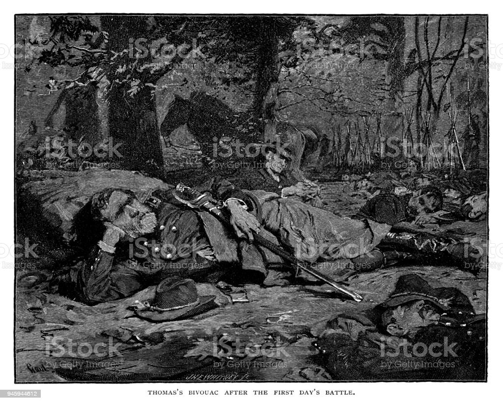 General George Henry Thomas's Bivouac after the first day's battle vector art illustration