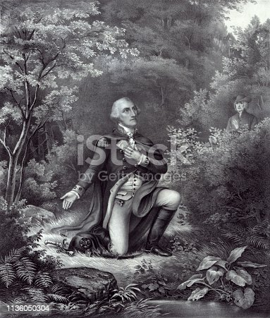 Vintage engraving of General George Washington kneeling in prayer at Valley Forge during the American Revolutionary War.
