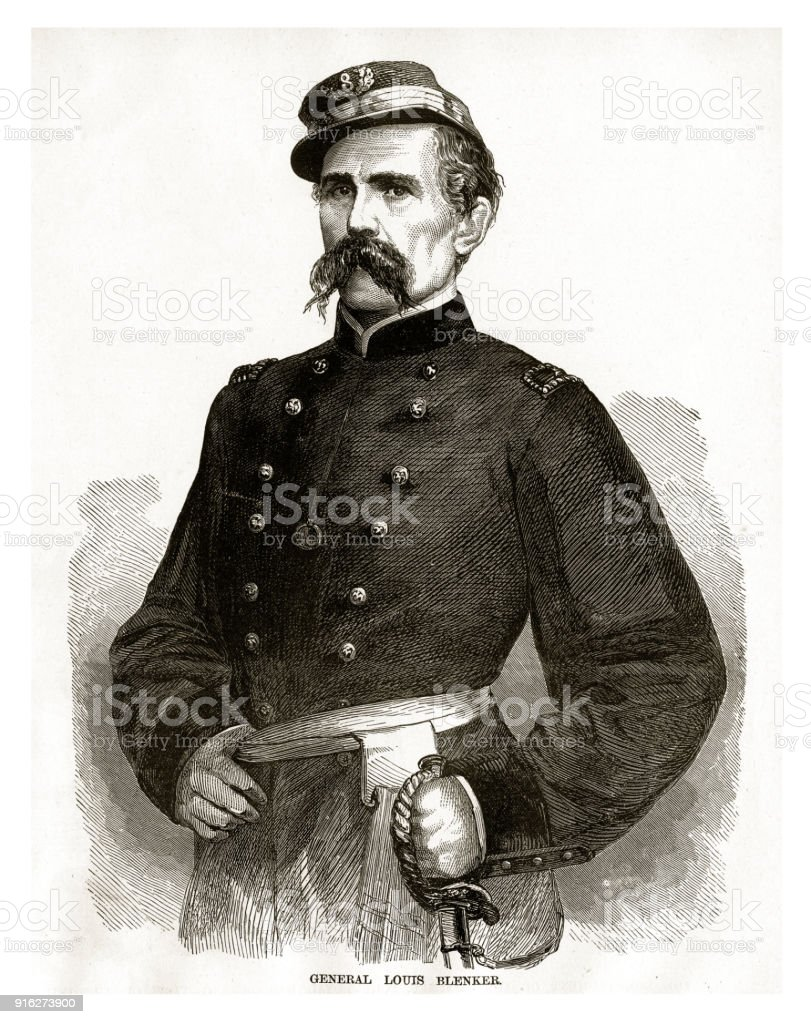General Louis Blenker Civil War Engraving vector art illustration