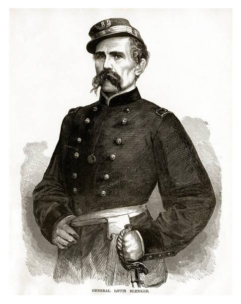 ilustrações, clipart, desenhos animados e ícones de gravura de guerra civil do general louis blenker - brigadeiro