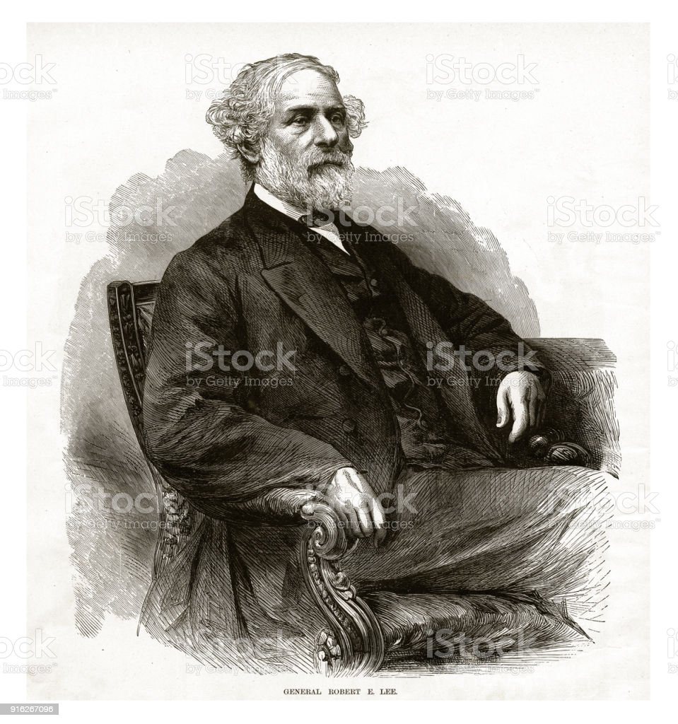 General Robert E. Lee Civil War Engraving vector art illustration
