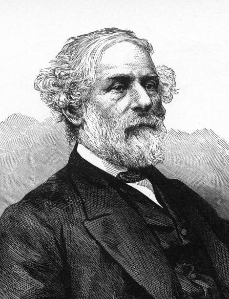 general robert e. lee engraving - old man portrait drawing stock illustrations, clip art, cartoons, & icons