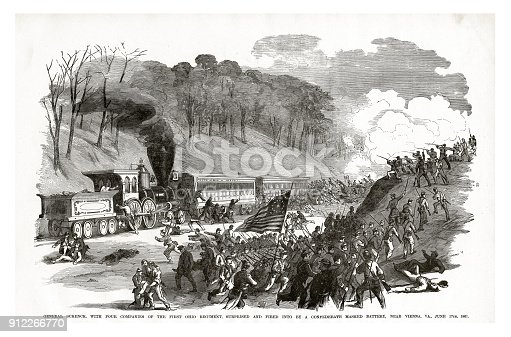 Engraving of General Schenck Surprised and Fired into by a Confederate Masked Battery near Vienna, Virginia, June 17, 1861 Civil War Engraving from