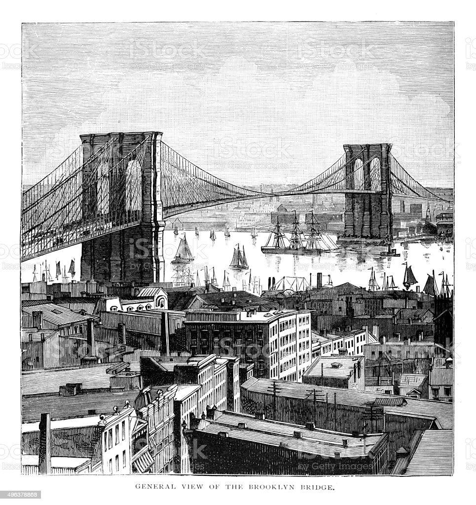 General view of the Brooklyn Bridge vector art illustration