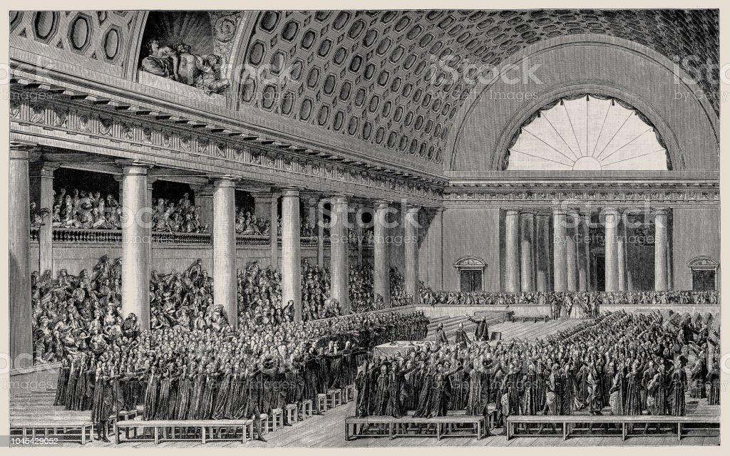 Vue générale de l'Assemblée nationale à Versailles le 17 juin 1789 - Illustration vectorielle