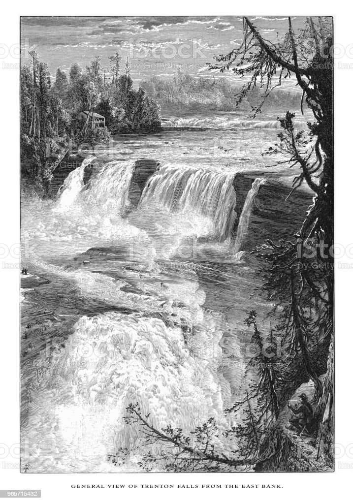 General View of Trenton Falls on West Canada Creek from the East Bank, Trenton, New York, American Victorian Engraving, 1872 - Royalty-free 1870 stock illustration