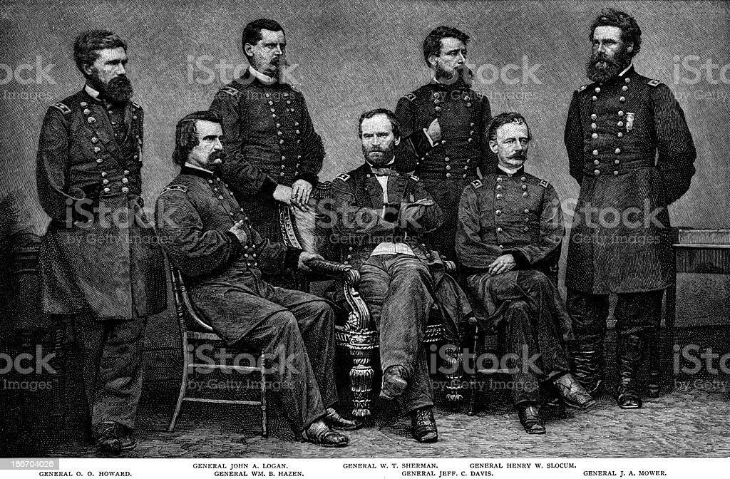 General William Tecumseh Sherman along with all of his generals. royalty-free stock vector art