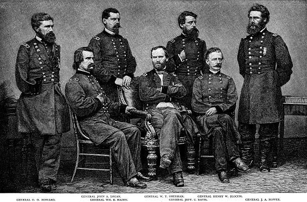 ilustrações, clipart, desenhos animados e ícones de general william tecumseh sherman, juntamente com todos os generais. - brigadeiro