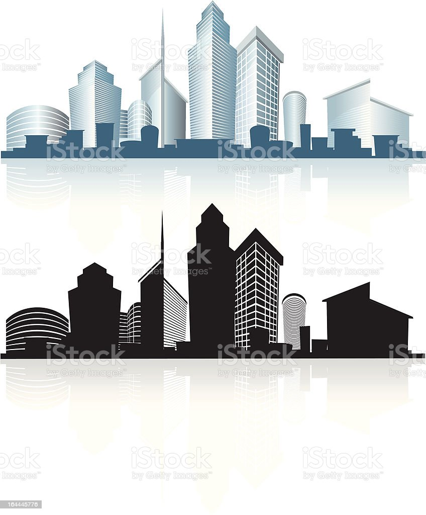 generic city skyline with offices and towers, skyscrapers vector art illustration