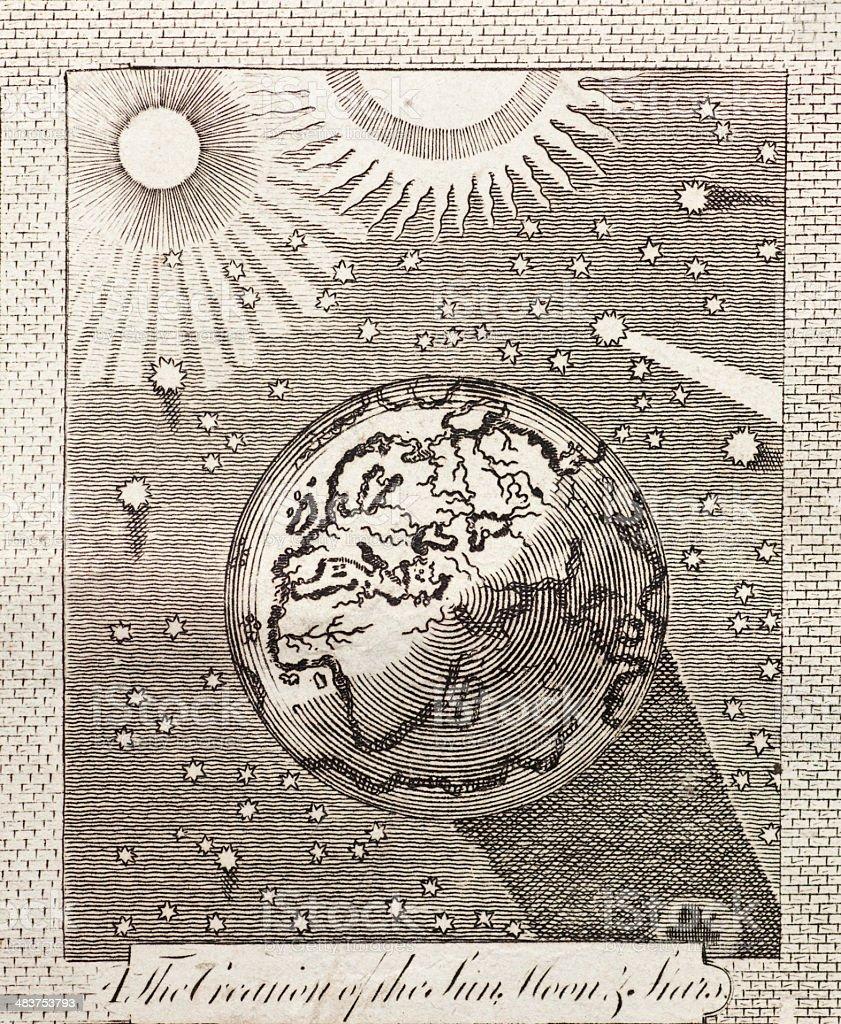 Genesis: Creation of the Sun, Moon and Stars Around Earth vector art illustration