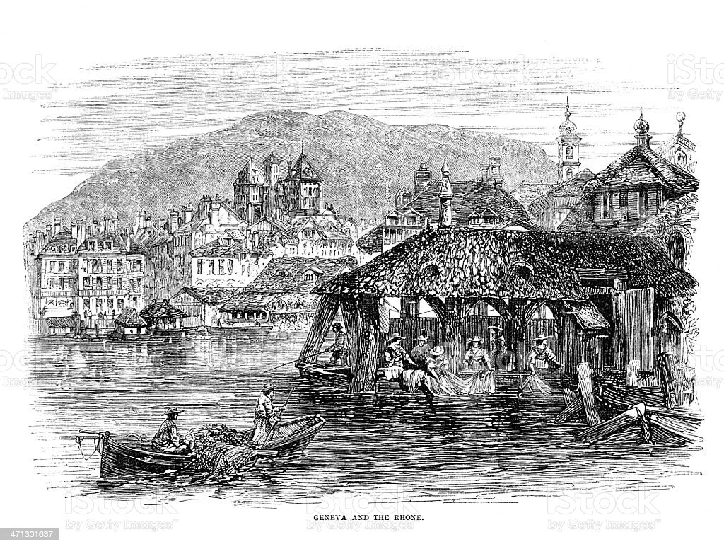 Geneva and the Rhone old print - from 1864 magazine royalty-free stock vector art