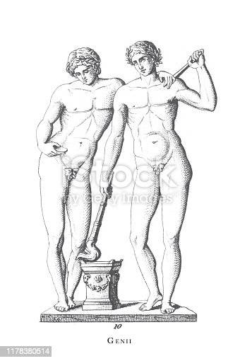 Genii, Gemini, Greek and Roman Gods and Religious Paraphernalia Engraving Antique Illustration, Published 1851. Source: Original edition from my own archives. Copyright has expired on this artwork. Digitally restored.
