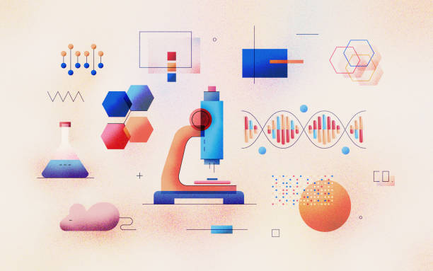 Genomic Analysis textured Illustration Genomic analysis of DNA sequence in laboratory. Bioinformatics research for biological information. Data science technology development. Modern flat design illustration concept on textured background. genomics stock illustrations