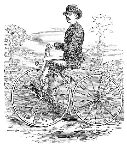 Gentleman bicycle rider in the country profile Vintage Woodcut from 1871 - English Mechanic and World of Science - Antique Image gentleman riding a bicycle dressed up with hat and sport coat, profile view boneshaker well dressed stock illustrations