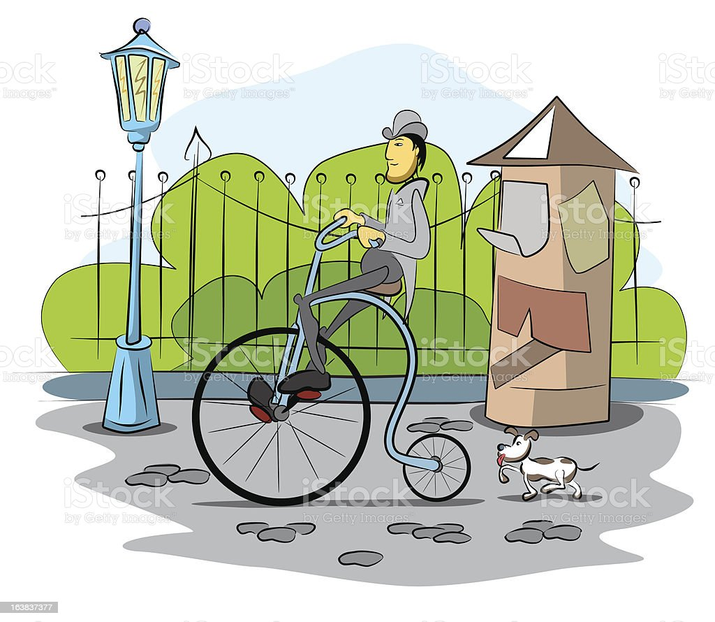 gentleman drive a retro bicycle royalty-free stock vector art