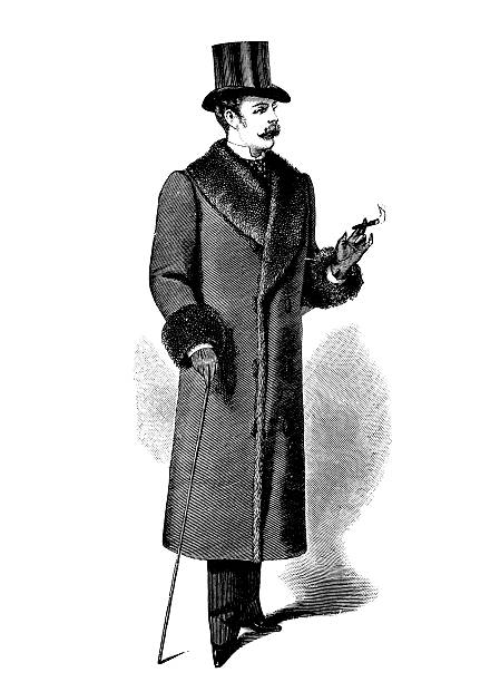 stockillustraties, clipart, cartoons en iconen met gentleman,19th century - guy with cigar