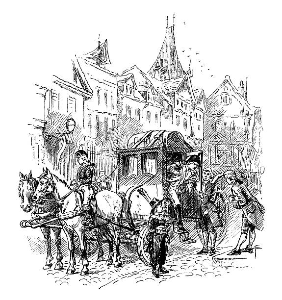 gentleman's arrival in a dutch city - dutch traditional clothing stock illustrations, clip art, cartoons, & icons