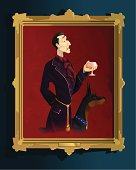 """""""Old oil painting portrait of an upper class gentleman in his robes, drinking brandy with his dog. Vector illustration with hi-res .jpg."""""""