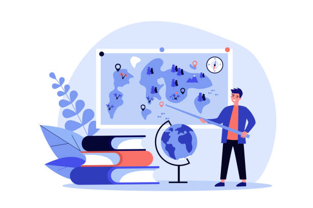ilustrações de stock, clip art, desenhos animados e ícones de geography teacher standing at blackboard - teacher school solo