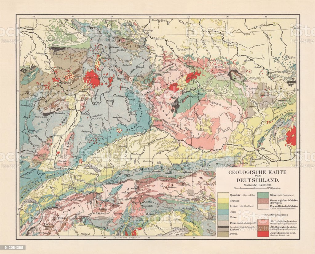 geological map of southern germany bohemia switzerland and austria published 1897 royalty
