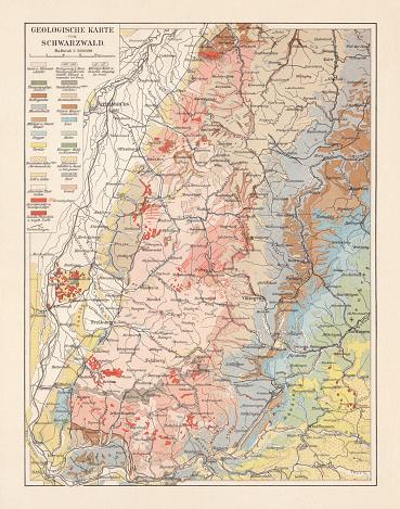 Geologische Karte von Thüringen Karte Lithographie 1897 historische Landkarte