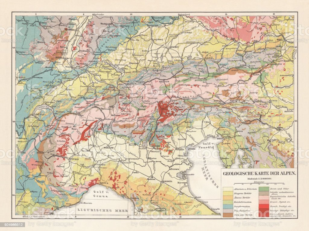 Geological Map Of The European Alps Lithograph Published In 1897 ...