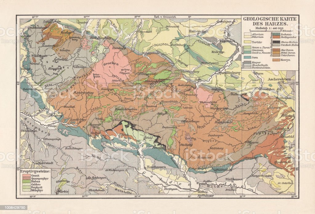 Map Of Germany Mountains.Geological Map Of The Harz Mountains Germany Lithograph Published